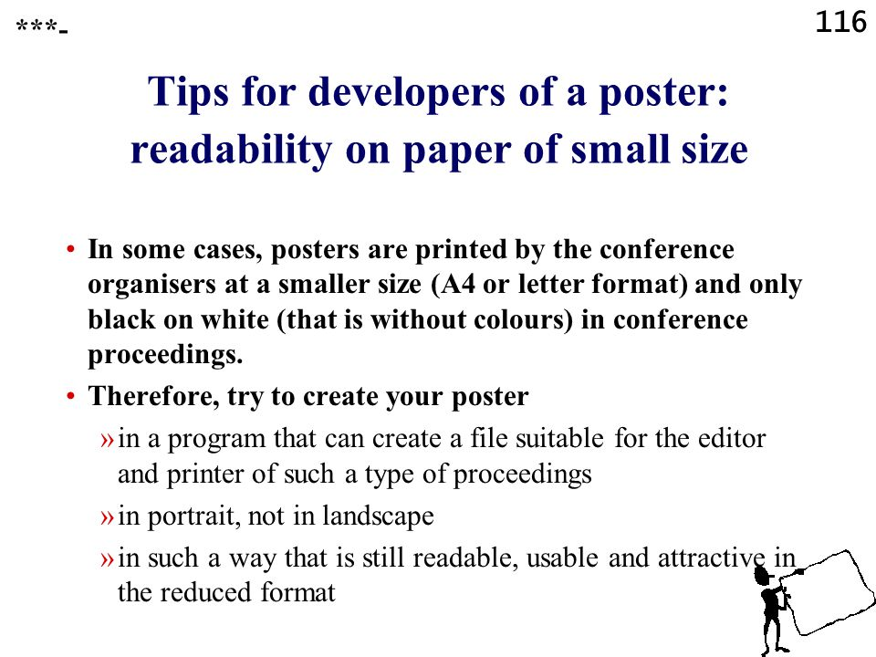 Tips for developers of a poster: readability on paper of small size