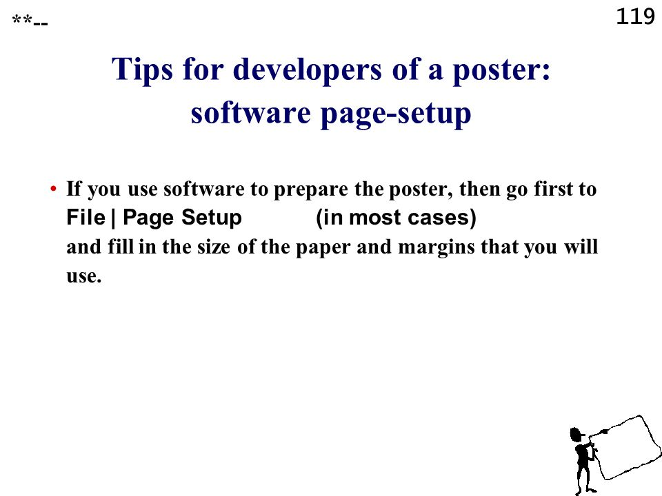 Tips for developers of a poster: software page-setup