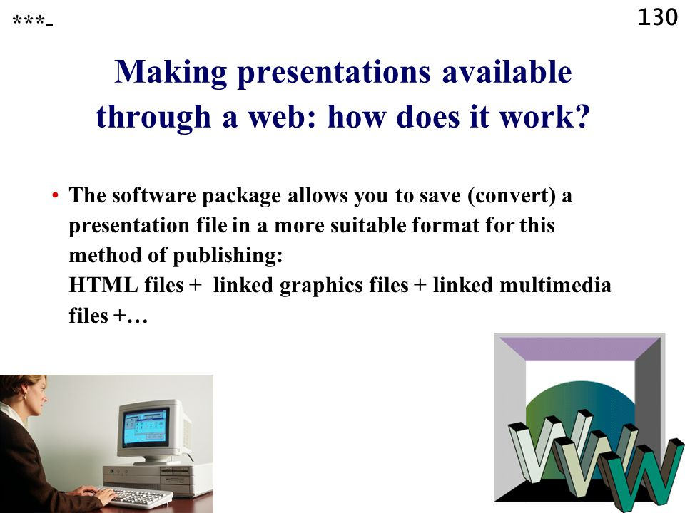 Making presentations available through a web: how does it work