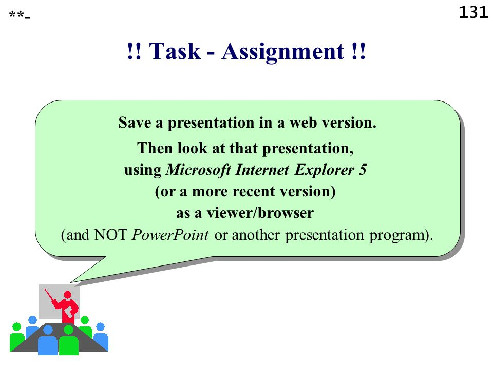 Save a presentation in a web version.