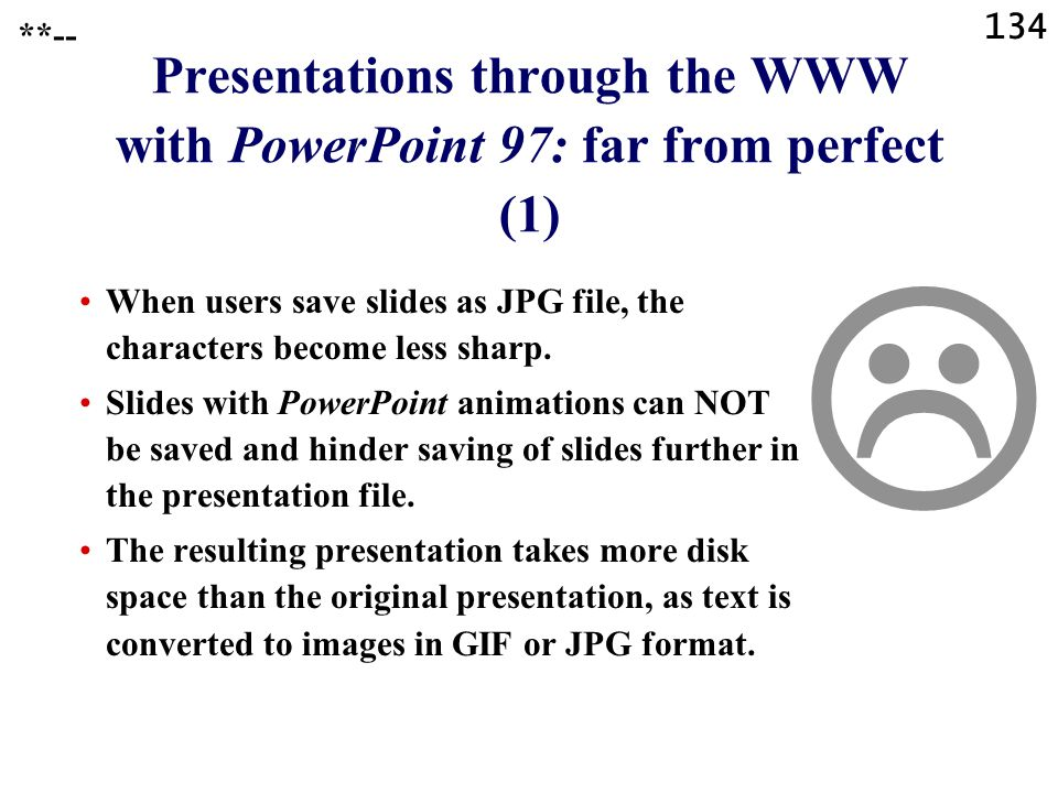 Presentations through the WWW with PowerPoint 97: far from perfect (1)