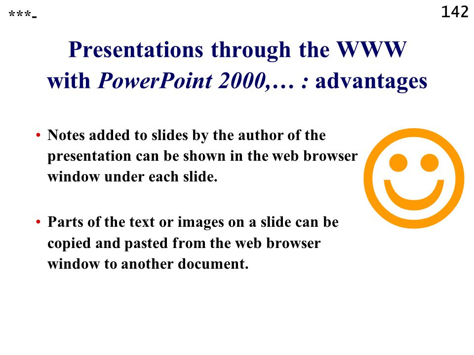 Presentations through the WWW with PowerPoint 2000,… : advantages