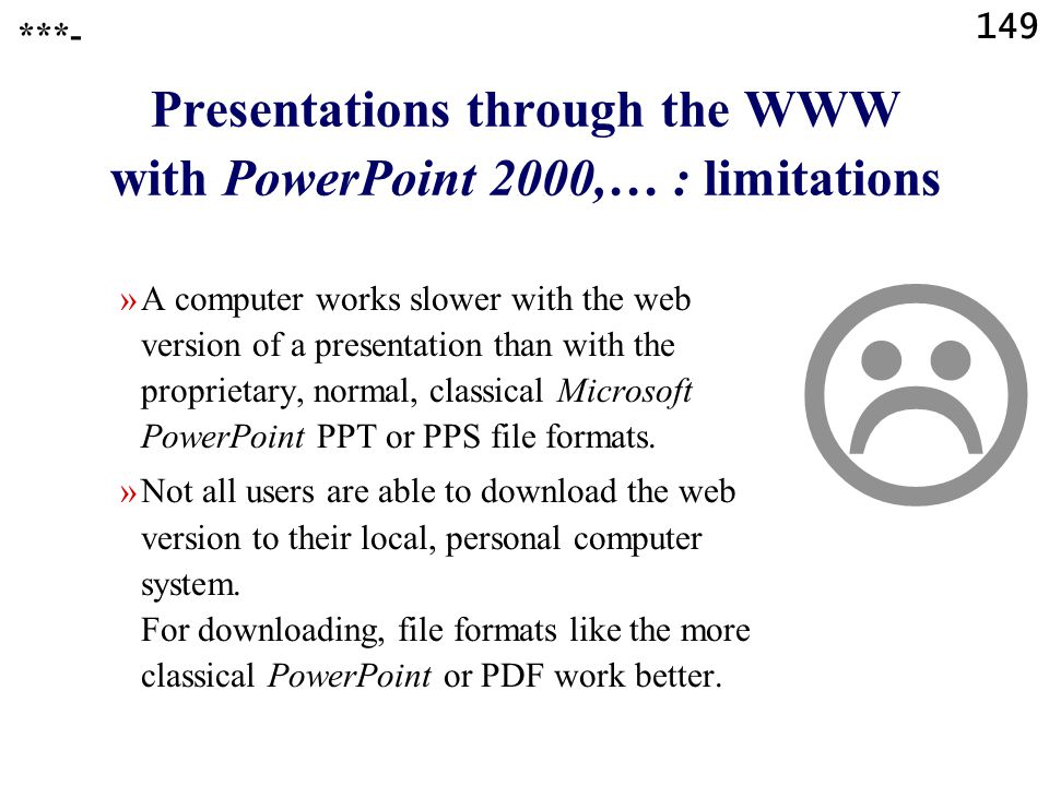 Presentations through the WWW with PowerPoint 2000,… : limitations