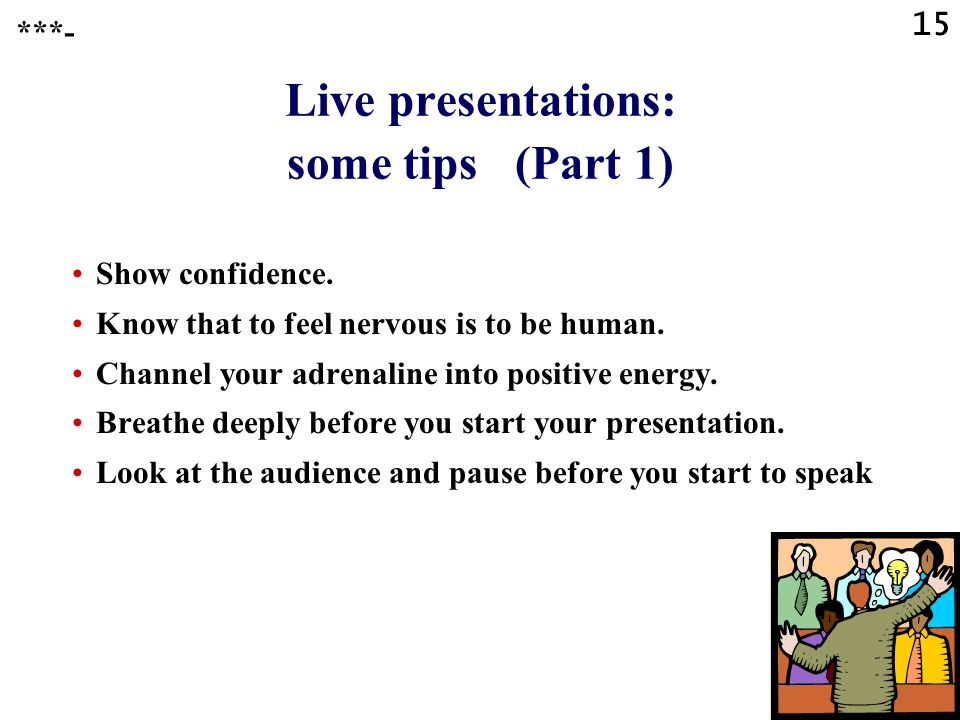 Live presentations: some tips (Part 1)