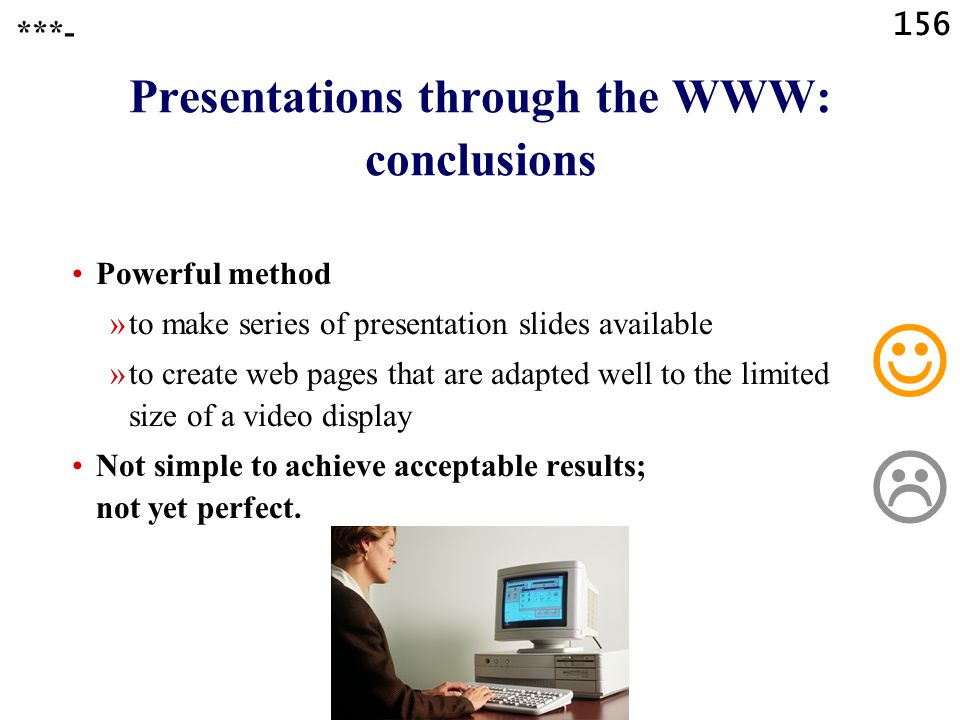 Presentations through the WWW: conclusions