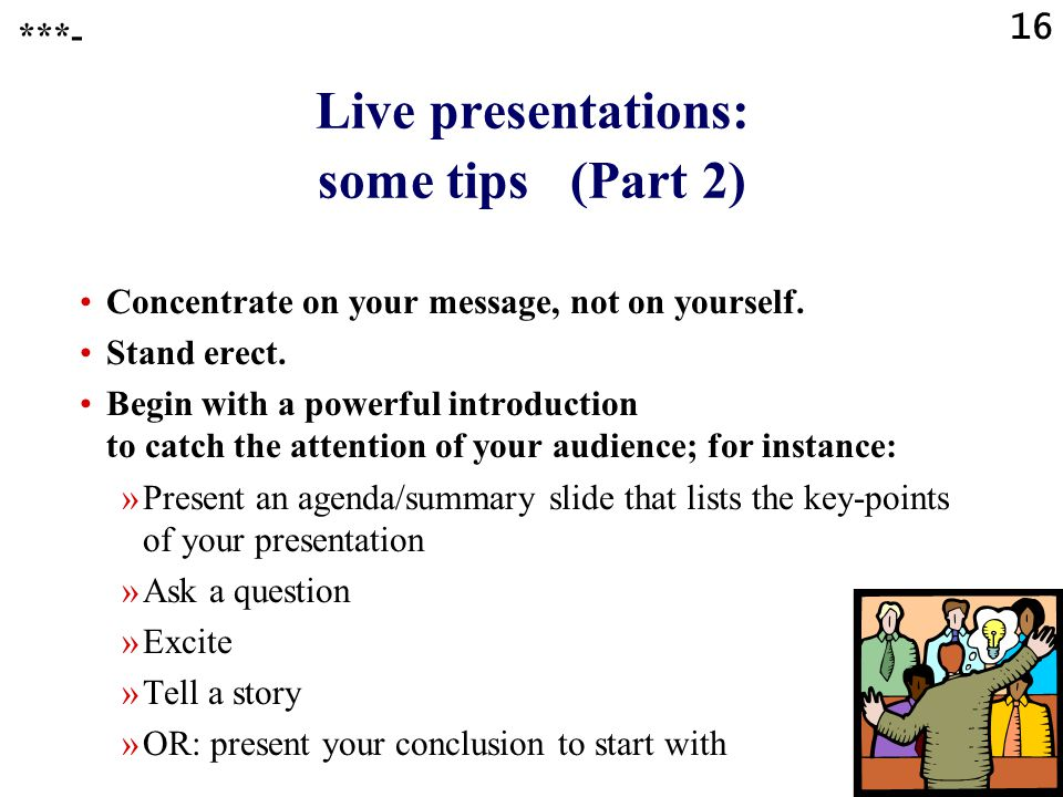 Live presentations: some tips (Part 2)