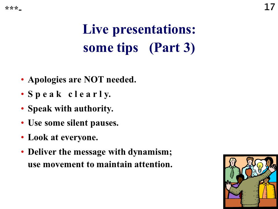Live presentations: some tips (Part 3)