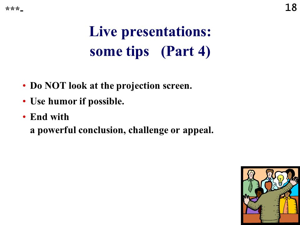 Live presentations: some tips (Part 4)