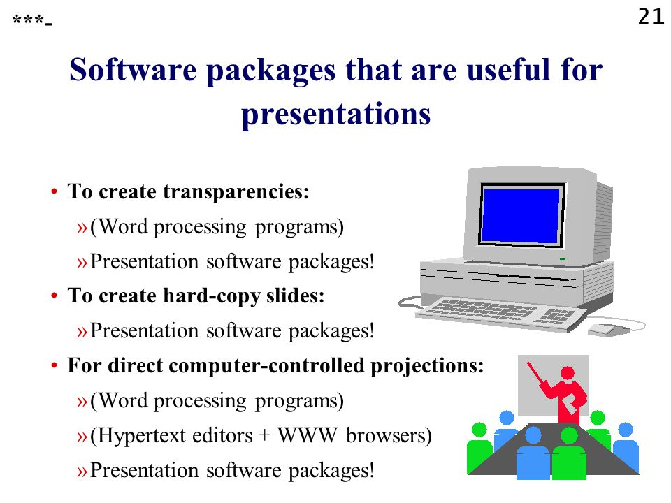 Software packages that are useful for presentations