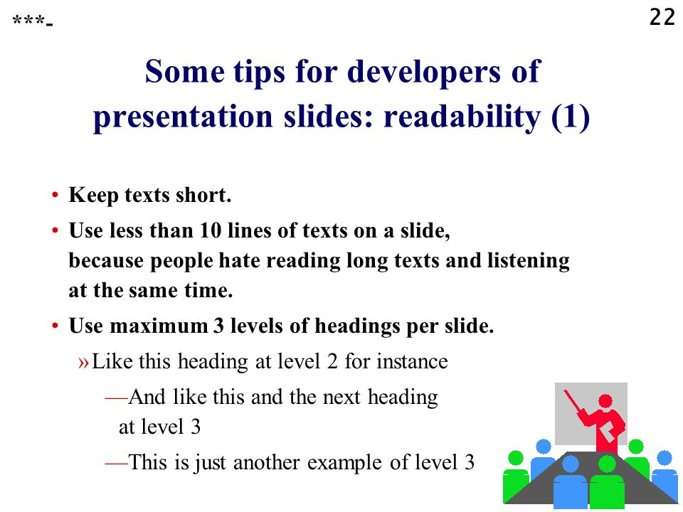 Some tips for developers of presentation slides: readability (1)