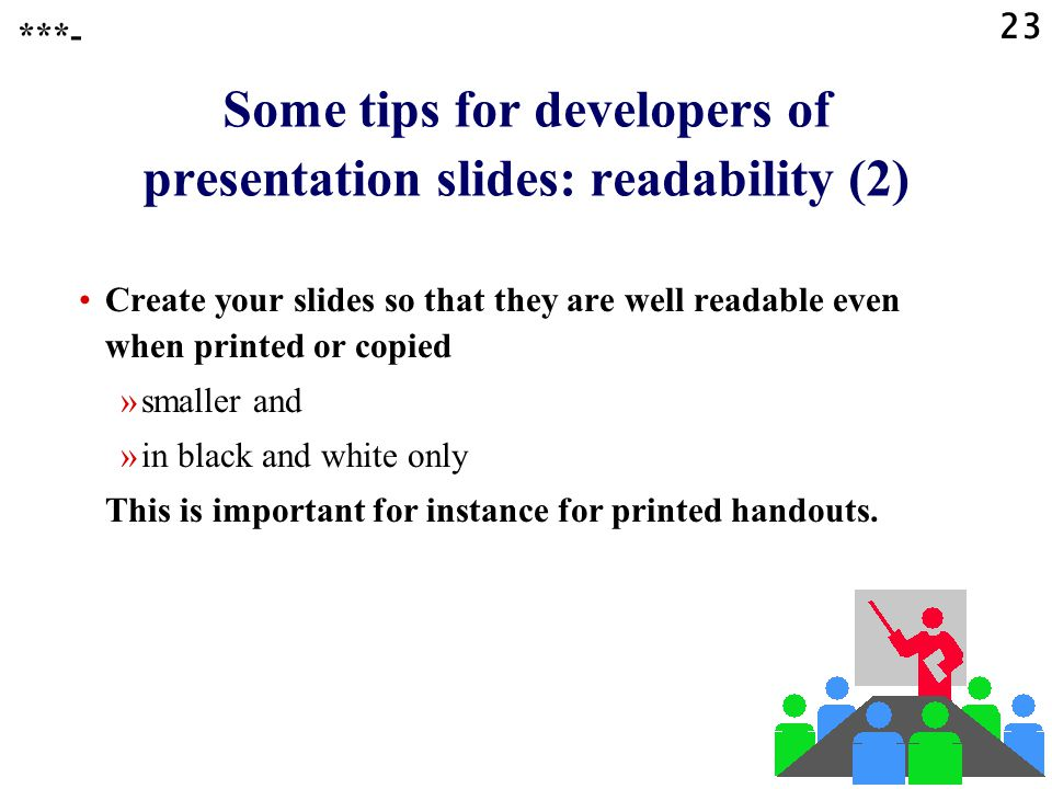 Some tips for developers of presentation slides: readability (2)