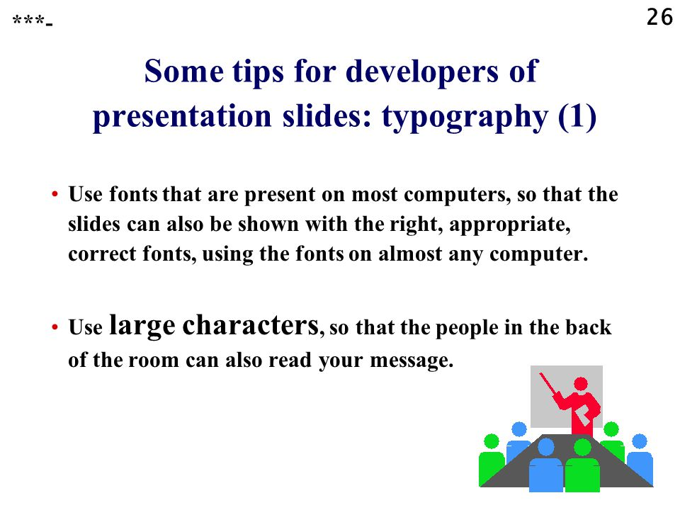 Some tips for developers of presentation slides: typography (1)