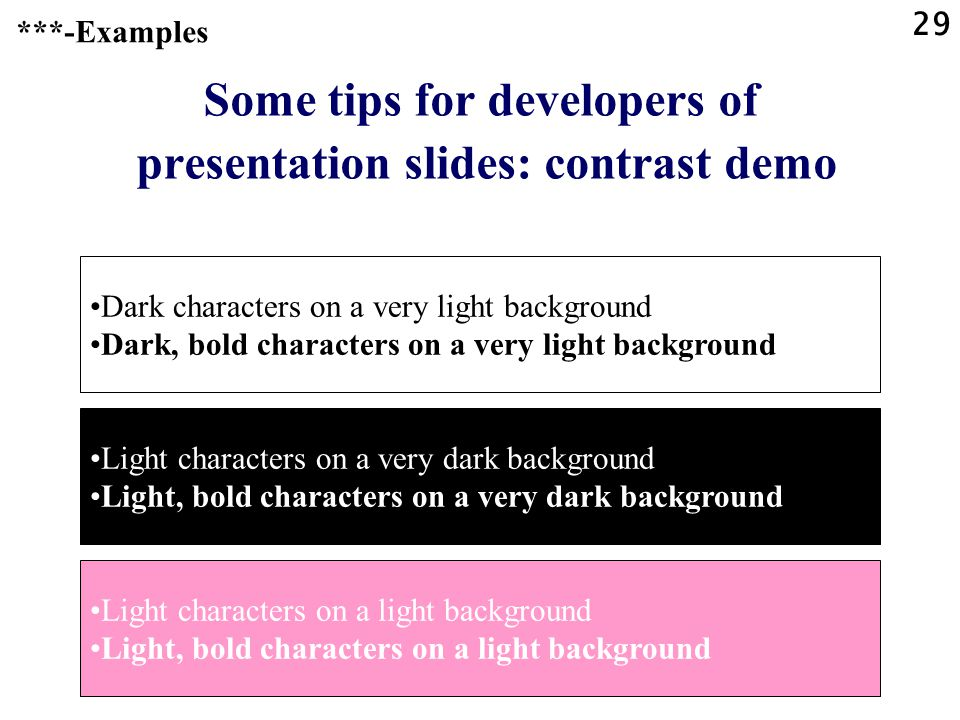 Some tips for developers of presentation slides: contrast demo