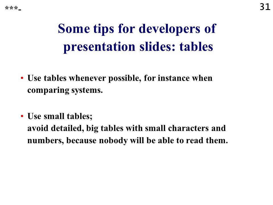 Some tips for developers of presentation slides: tables