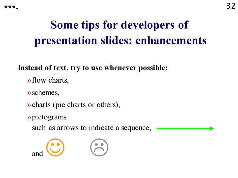 Some tips for developers of presentation slides: enhancements
