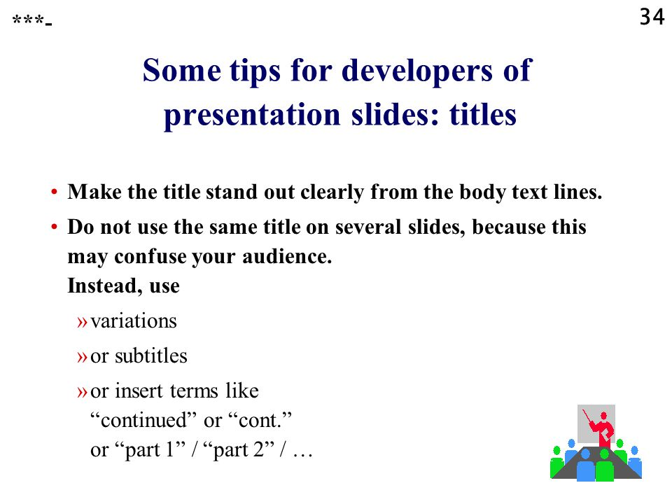 Some tips for developers of presentation slides: titles