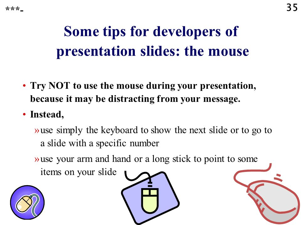 Some tips for developers of presentation slides: the mouse