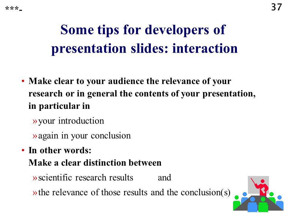 Some tips for developers of presentation slides: interaction