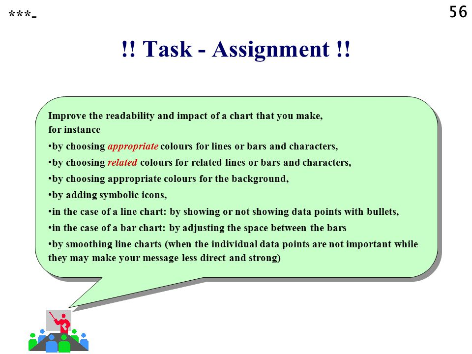 56 ***- !! Task - Assignment !! Improve the readability and impact of a chart that you make, for instance.