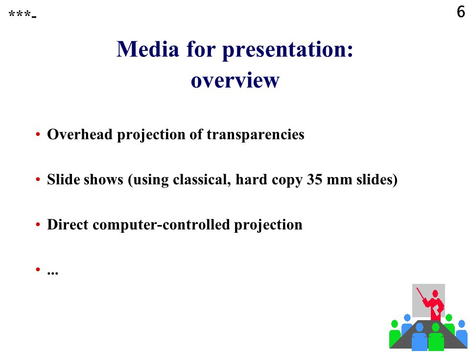 Media for presentation: overview
