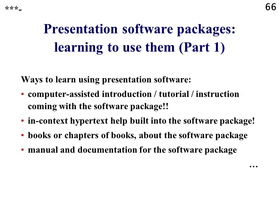 Presentation software packages: learning to use them (Part 1)