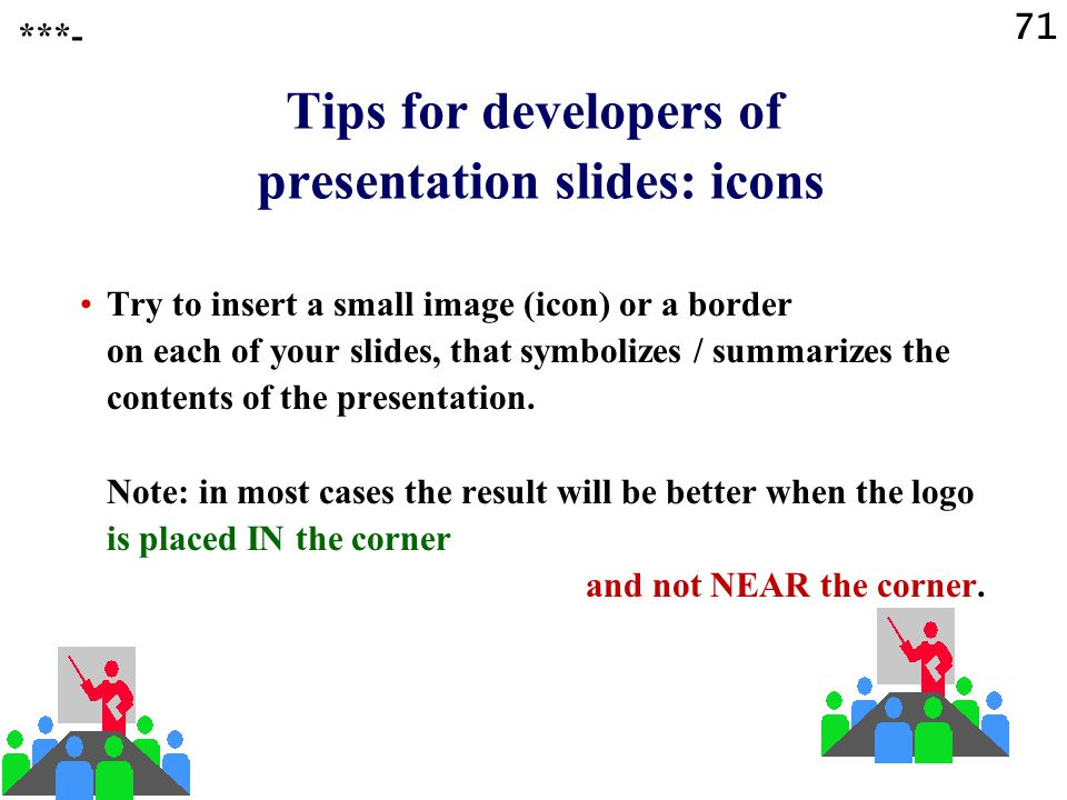 Tips for developers of presentation slides: icons