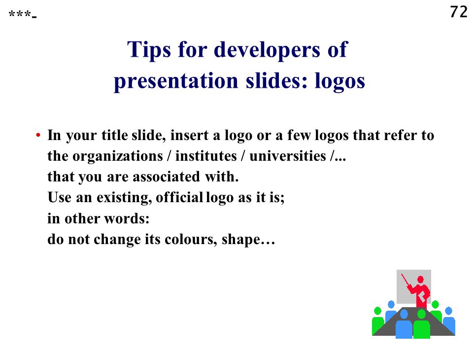 Tips for developers of presentation slides: logos