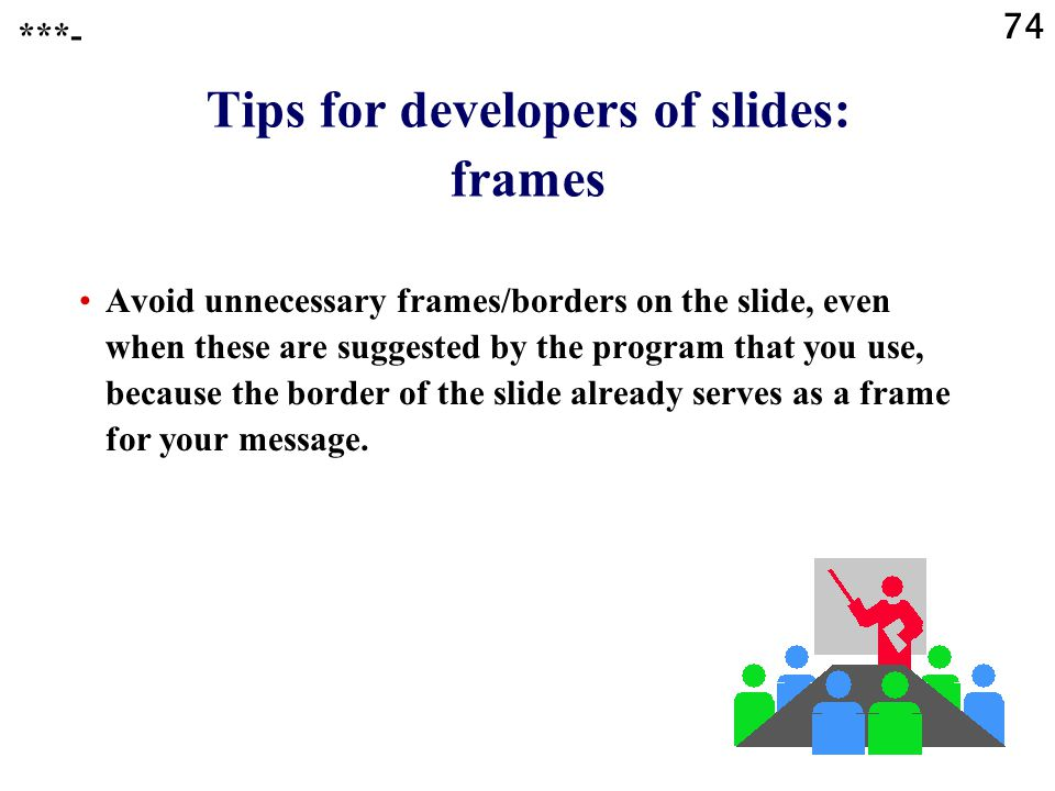 Tips for developers of slides: frames