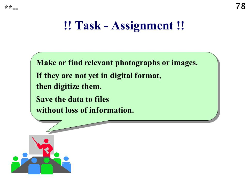 **-- !! Task - Assignment !! Make or find relevant photographs or images. If they are not yet in digital format, then digitize them.