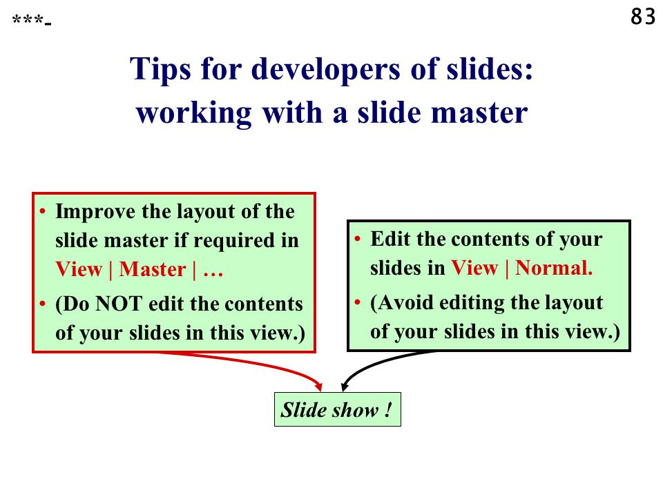 Tips for developers of slides: working with a slide master