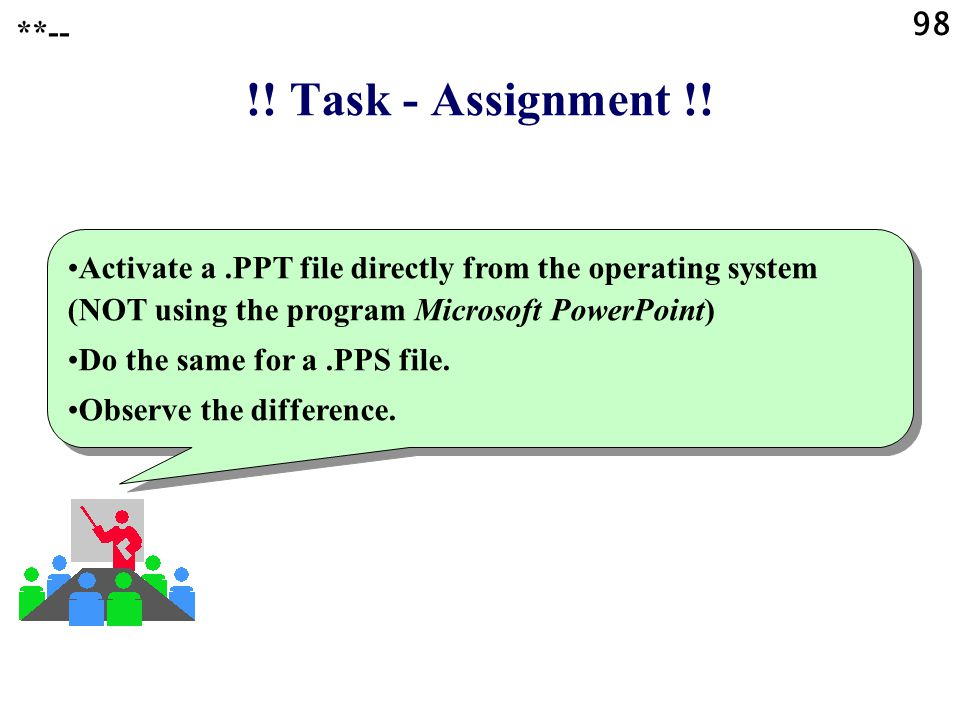 98 **-- !! Task - Assignment !! Activate a .PPT file directly from the operating system (NOT using the program Microsoft PowerPoint)