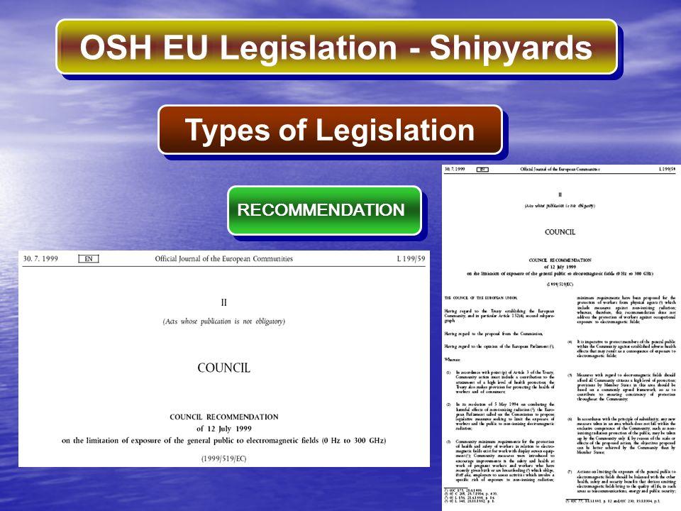Types of Legislation RECOMMENDATION