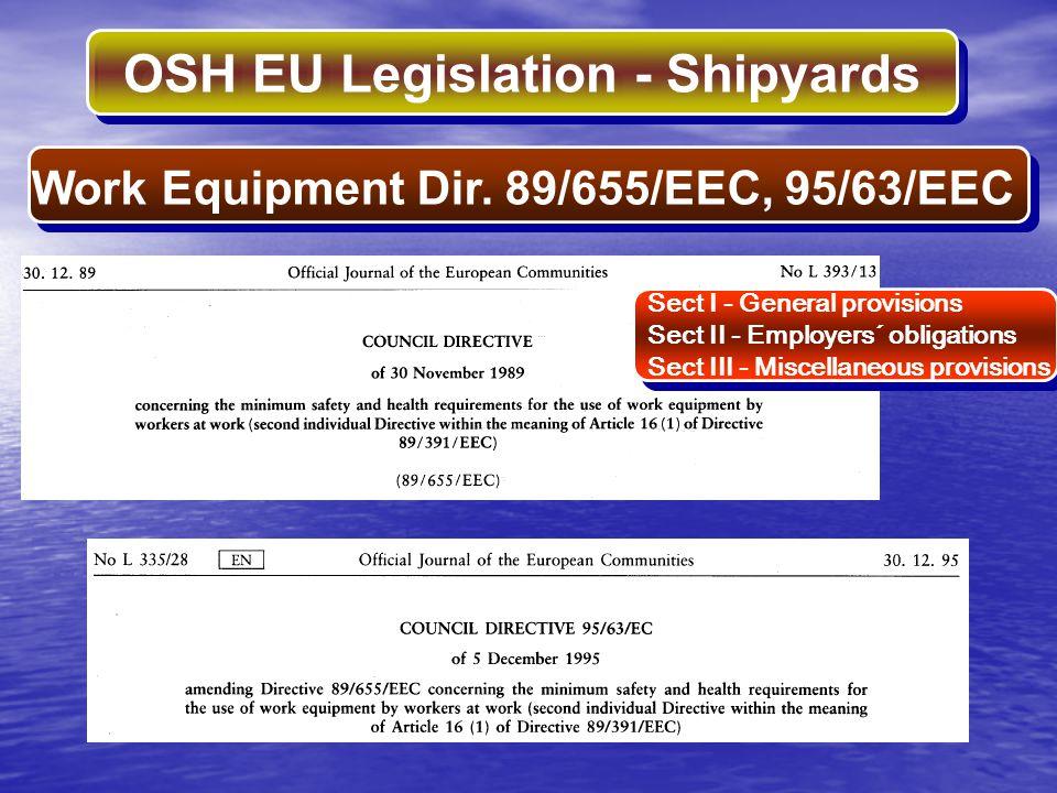Work Equipment Dir. 89/655/EEC, 95/63/EEC