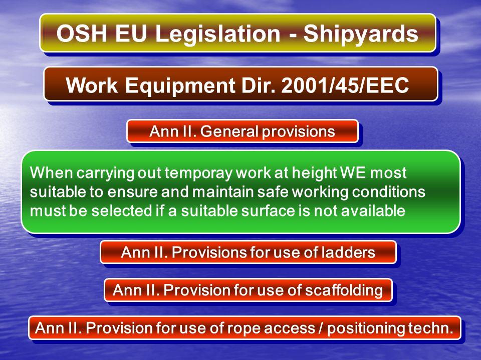 Work Equipment Dir. 2001/45/EEC