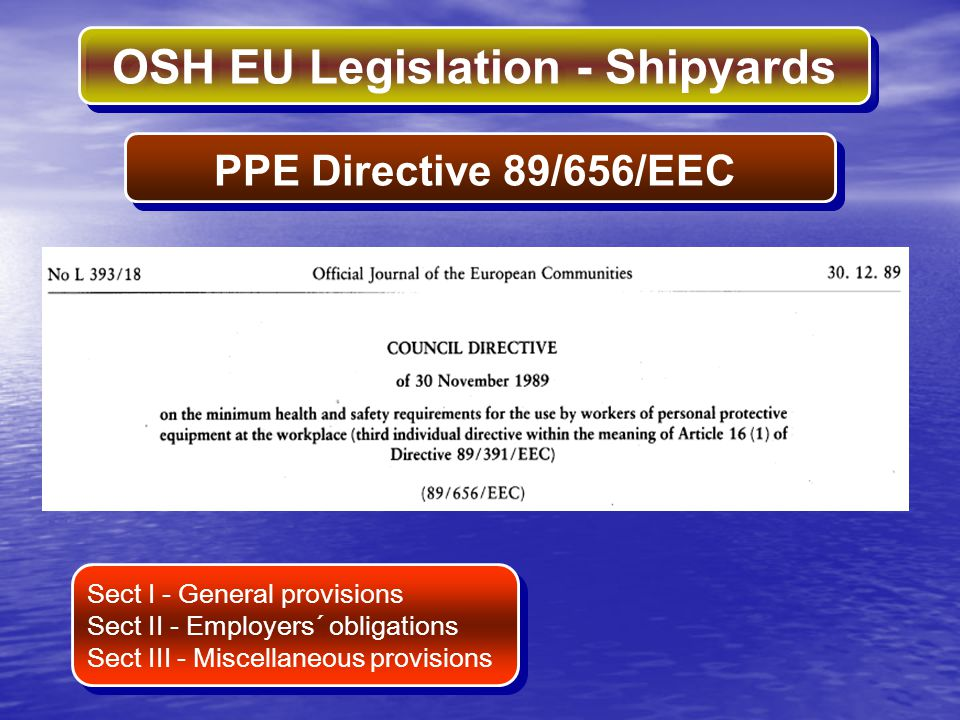 PPE Directive 89/656/EEC Sect I - General provisions