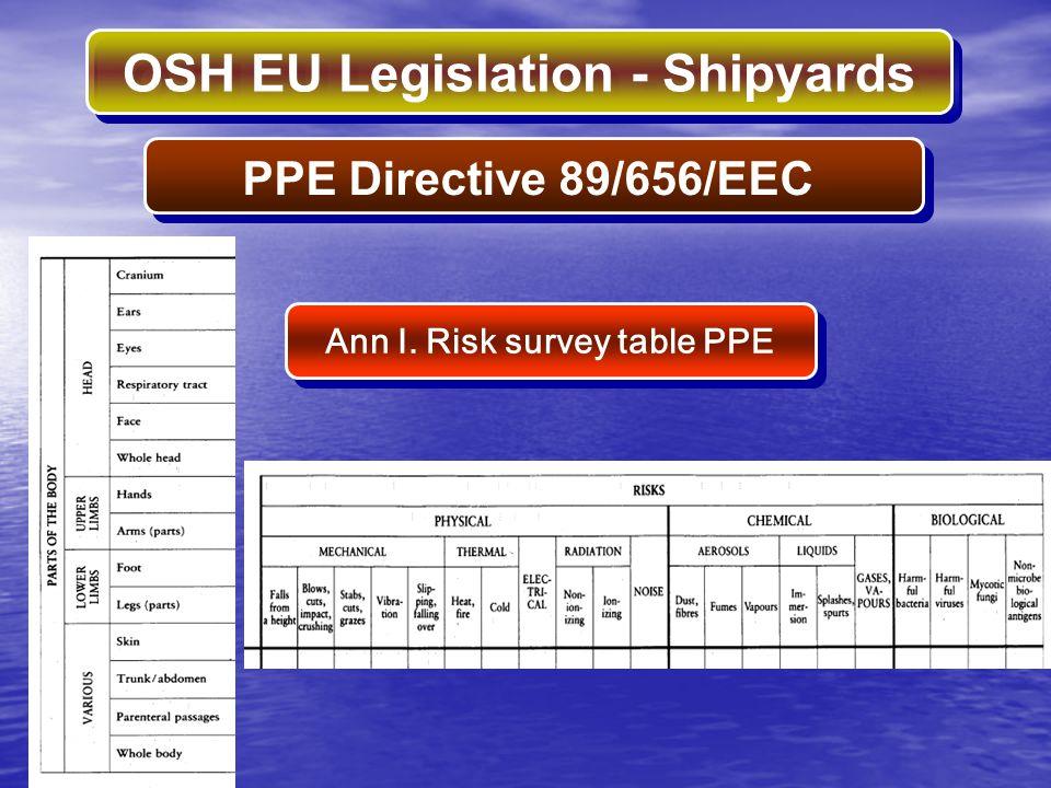 Ann I. Risk survey table PPE