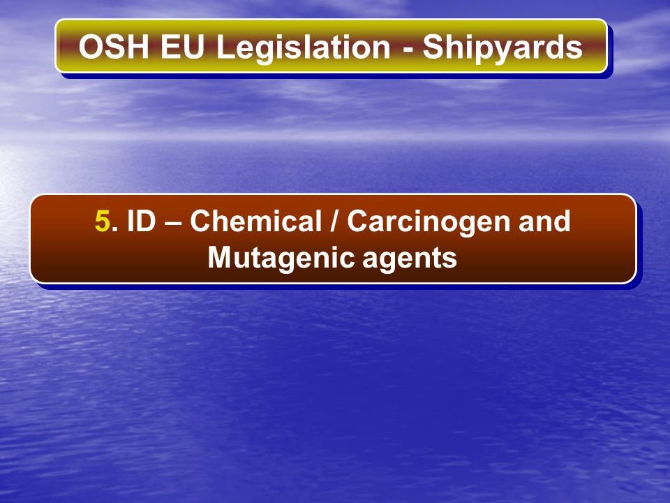 5. ID – Chemical / Carcinogen and Mutagenic agents