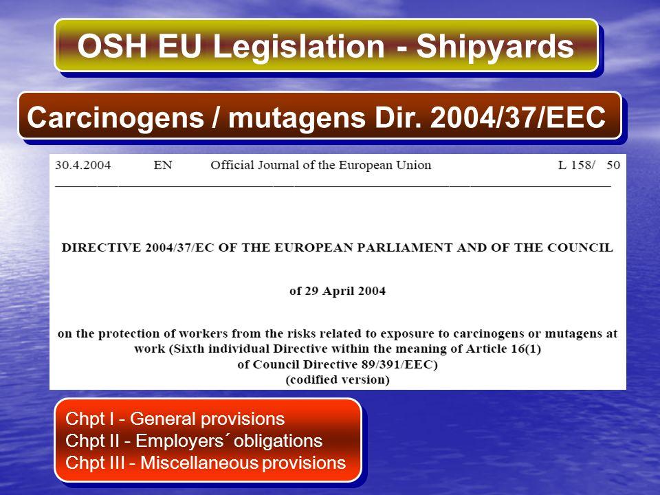 Carcinogens / mutagens Dir. 2004/37/EEC
