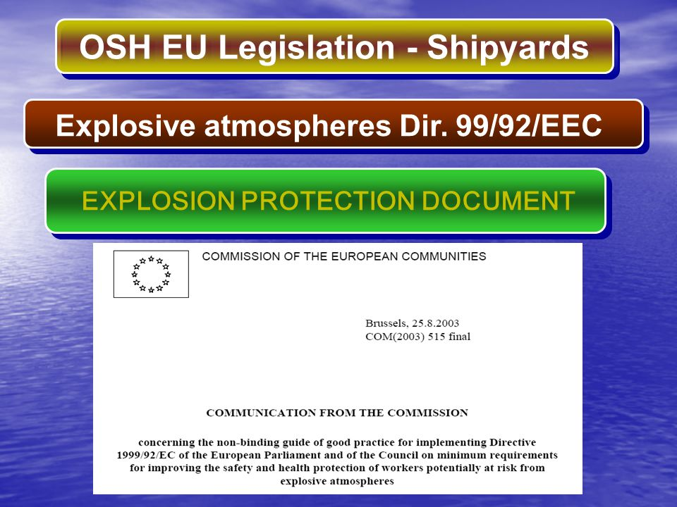 Explosive atmospheres Dir. 99/92/EEC EXPLOSION PROTECTION DOCUMENT