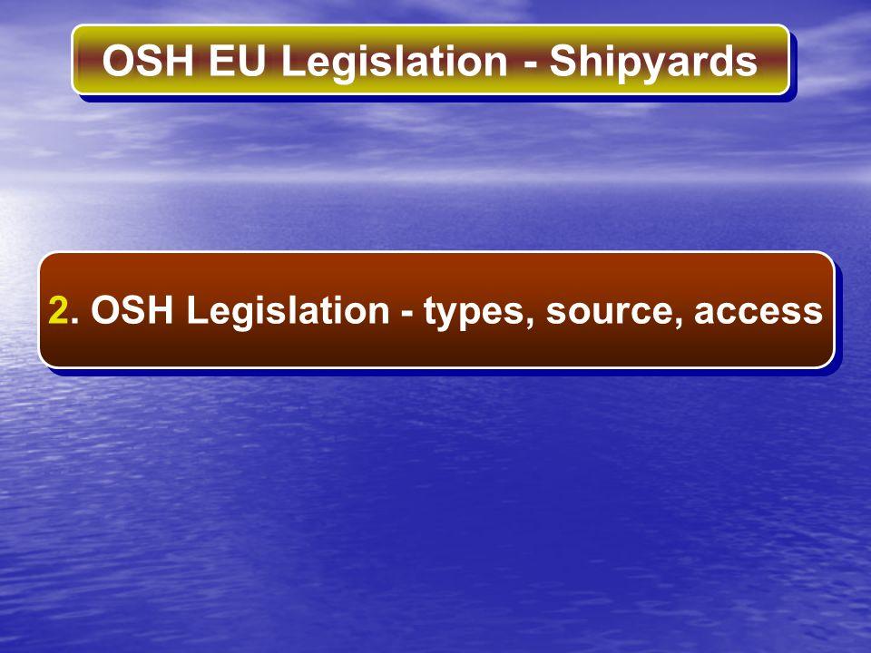 2. OSH Legislation - types, source, access