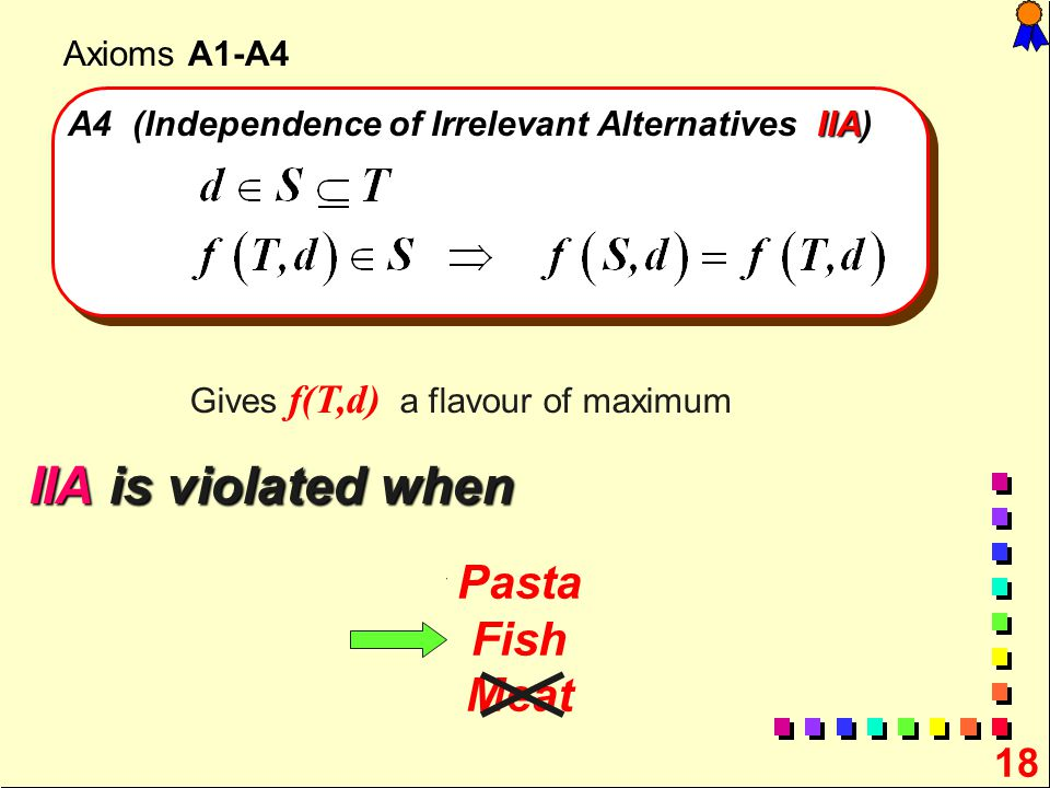 A4 (Independence of Irrelevant Alternatives IIA)