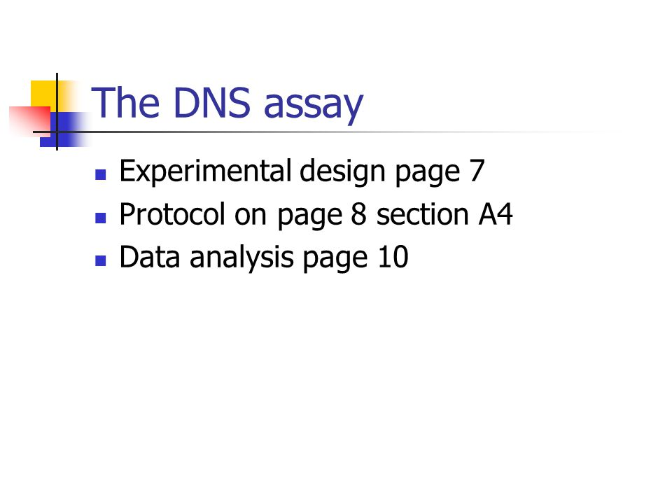 The DNS assay Experimental design page 7 Protocol on page 8 section A4
