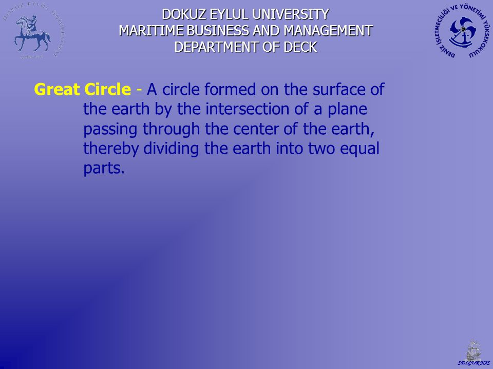 Great Circle - A circle formed on the surface of