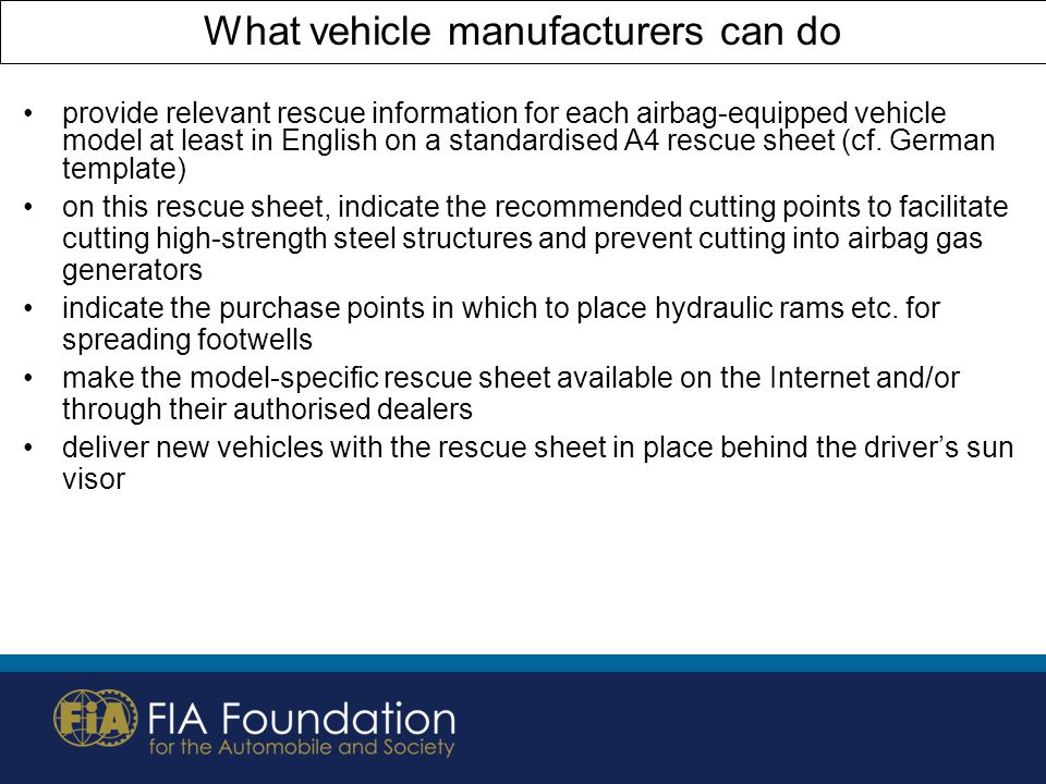 What vehicle manufacturers can do