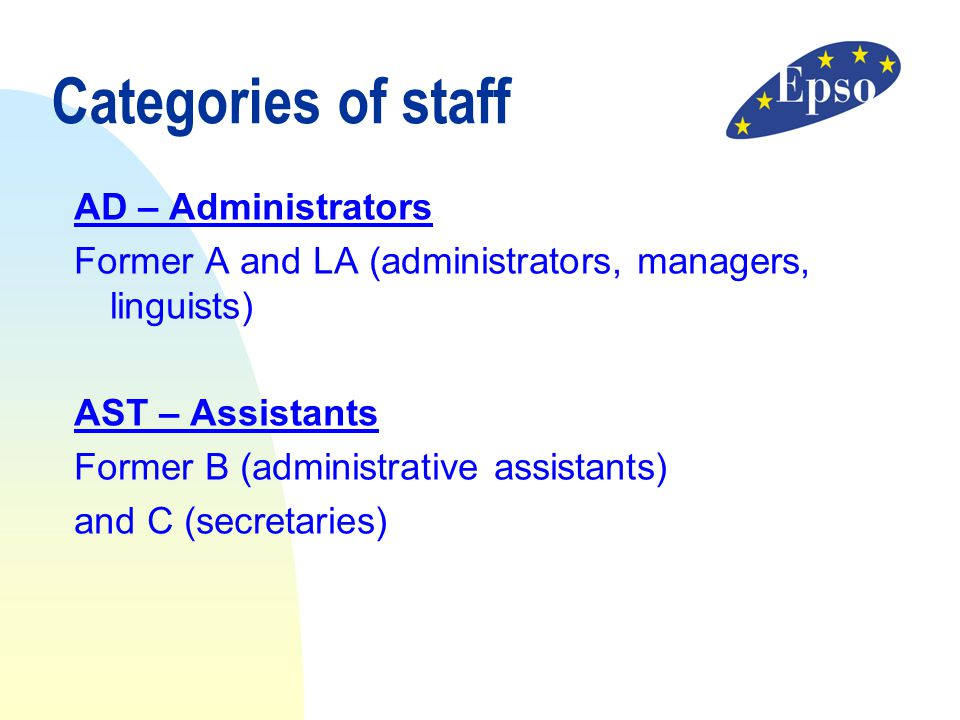Categories of staff AD – Administrators