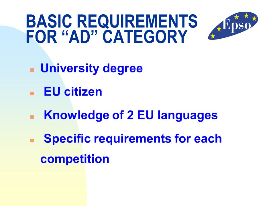 BASIC REQUIREMENTS FOR AD CATEGORY