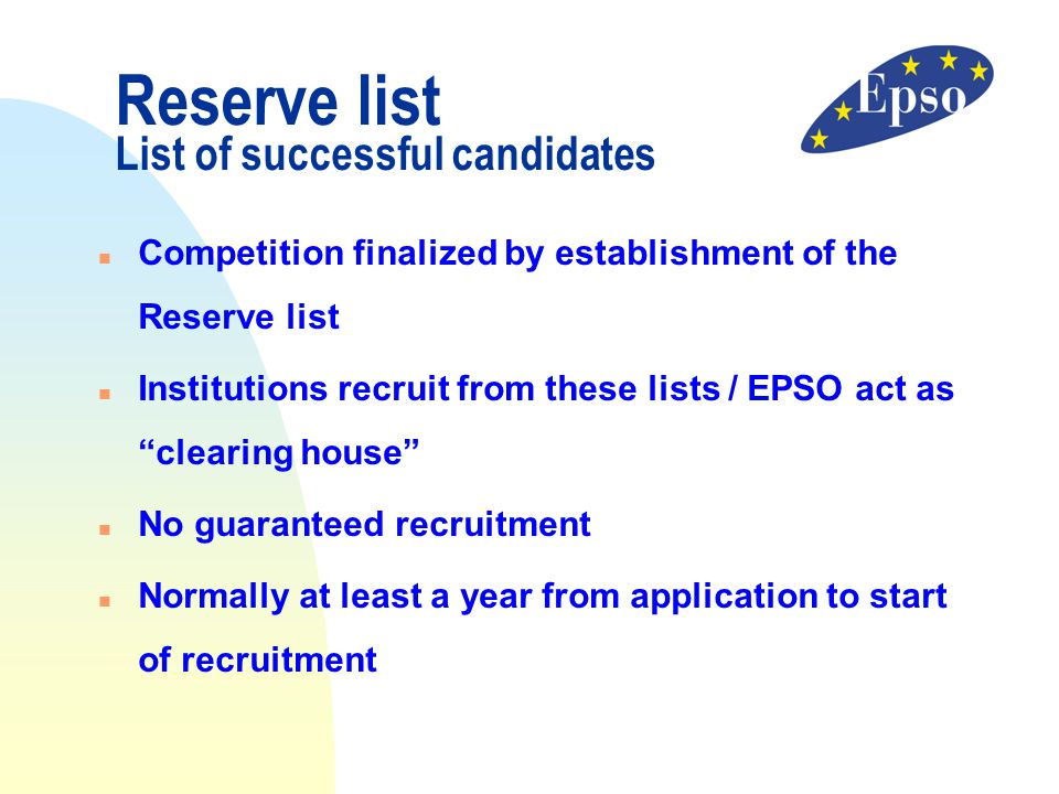 Reserve list List of successful candidates