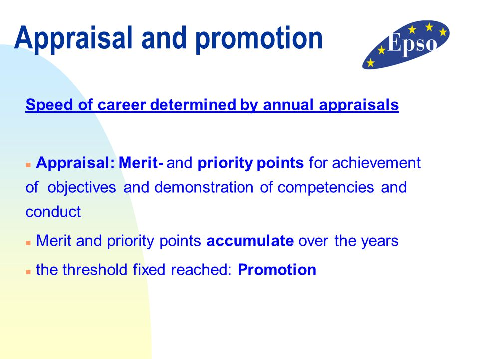 Appraisal and promotion