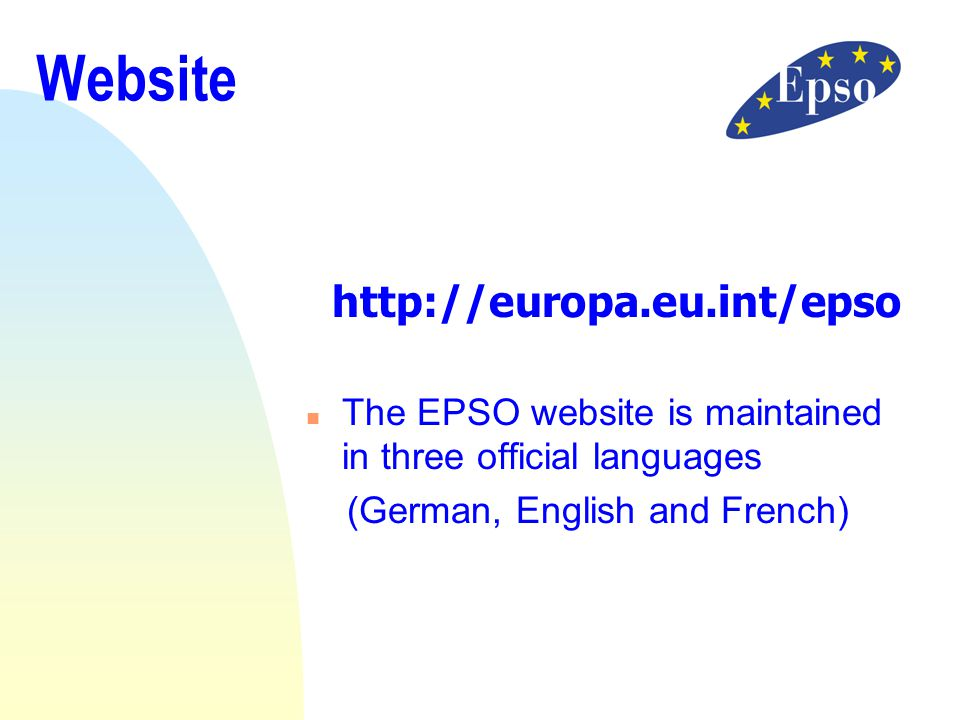 Website http://europa.eu.int/epso