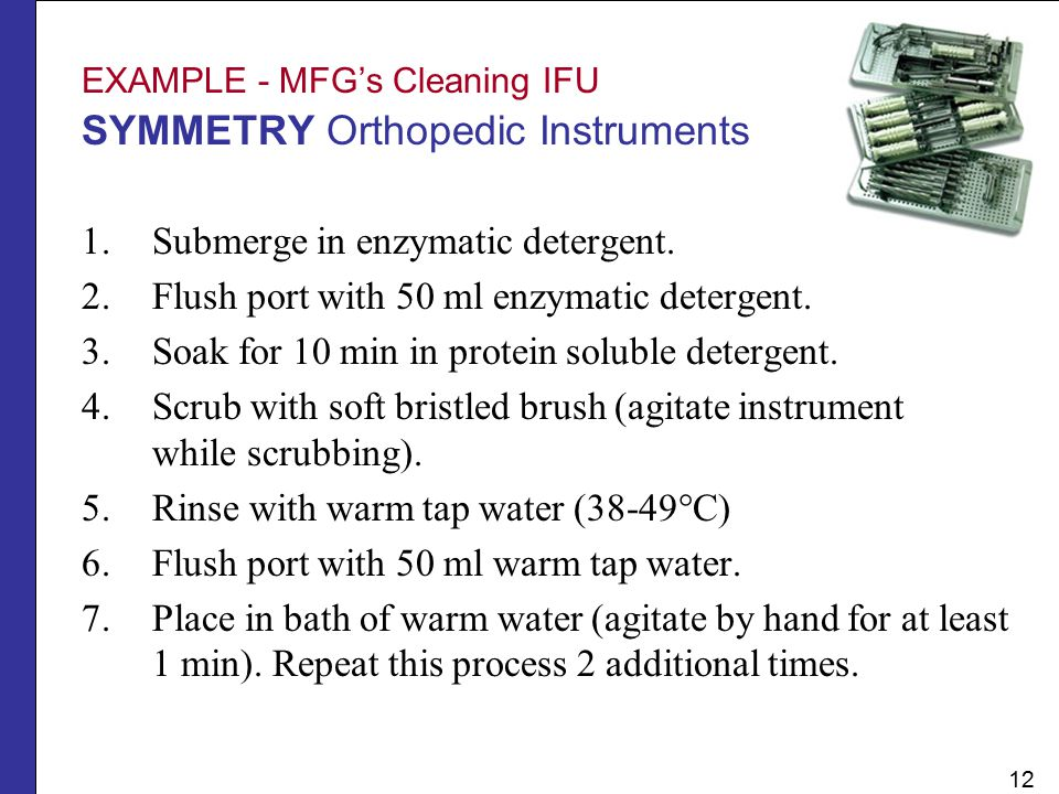 EXAMPLE - MFG's Cleaning IFU SYMMETRY Orthopedic Instruments